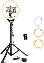UBeesize 10 英寸(约 25.4 厘米)环形灯,带三脚架的自拍灯带 62 英寸(约 152.4 厘米)三脚架,用于视频录制和直播(YouTube、Instagram、Facebook),兼容手机和相机