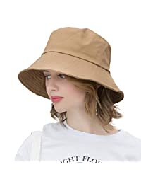 AMAKU 女式渔夫帽 棉质 可收纳 UV 防护太阳帽 夏季海滩帽