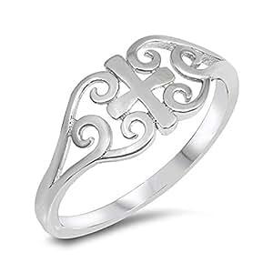 高抛光凯尔特心形十字金银丝戒指 925 标准纯银戒指尺寸 4-10
