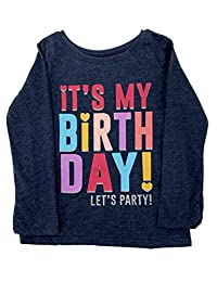 婴幼儿女孩*蓝 Heather It's My Birthday Let's Party 衬衫上衣