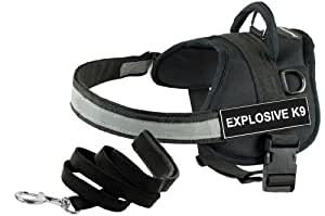 Dean and Tyler Bundle One DT Works Harness, Explosive K9, Medium (28-Inch, 38-Inch) with One Matching Padded Puppy Leash, 6-Feet Stainless Snap, Black
