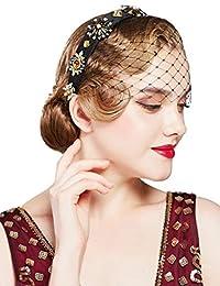 BABEYOND 黑色头纱网面纱头巾头巾新娘婚礼茶会头纱女士20世纪20年代飞来波头纱头饰