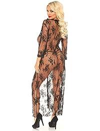 Leg Avenue 蕾丝睡袍和丁字裤,黑色,S/M