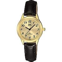 CITIZEN 女式石英手表皮革表带,黑色,22(型号:C153J103Y)