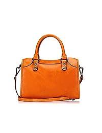 VoyageTime 女式 头层牛皮提挎两用包 VF4004-201 橙色 23.5*16.5*9.5cm(亚马逊自营商品, 由供应商配送)