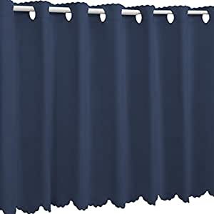 1級遮光 防炎カフェカーテン オーダー感覚17色 インディゴブルー 蓝色 幅 110cm