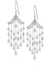 镀铑纯银 cascade 流苏方晶锆石耳环