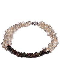 JYX 珍珠项链三股 5-7 毫米白色珍珠和巴洛克碧玺筹码项链 45.72 厘米