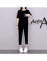 Gangxia 夏天夏季运动休闲套装女短袖短款九分款纯棉套装女套装俩件套夏