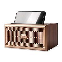 SEVIZ Gold 复古无线蓝牙音箱,20W 立体声声音,蓝牙 5.0 带 4 小时播放,适合家庭、户外、旅行、FM 收音机、复古扬声器、木制扬声器