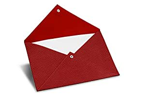 Lucrin - 矩形 A5 信封 - 皮革。 红色。