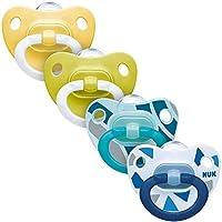 NUK 4件安抚奶嘴套装,2件Happy Days 安抚奶嘴&2件时尚奶嘴,6-18个月,硅胶,下颚造型,中性颜色