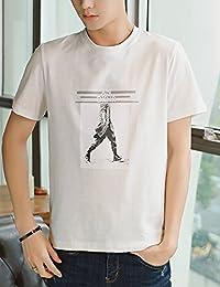 Goralon 舒适宽松白色T恤男装短袖t恤夏季半袖衣服 男士休闲t恤上衣夏印花t恤衫