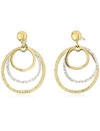 treesse italian 10K 黄金和白金圆形多层吊坠耳环