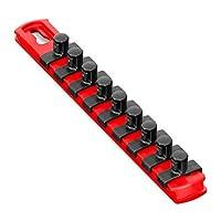 Ernst Manufacturing 8411-Red-3/8 8-Inch Socket Organizer and 9-3/8-Inch Twist Lock Clips 红色 3/8-Inch