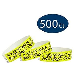 WristCo 笑脸 3/4 英寸 Tyvek 腕带 500 Count 霓虹黄色