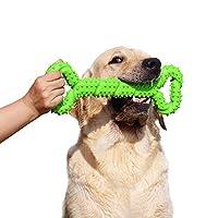 BLUEISLAND 耐用狗咀嚼玩具 13 英寸骨形状超大狗玩具,带凸纹设计,强力咬合玩具 适合大胆的咀嚼玩具 绿色 1包