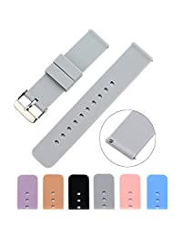MLQSS 软硅胶表带,快速释放别针 - 可选颜色和宽度(18mm、20mm 或 22mm)表带带带,带可调节金属扣