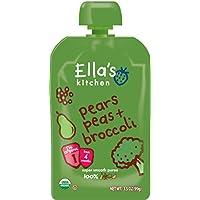 Ella's Kitchen 寶寶輔食,梨子+豌豆+西蘭花 混合蔬果泥,3.5盎司(99克)12袋