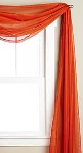 透明薄纱薄纱窗帘 橙色 58-inch x 216-inch Sheer Window Panel And Scarf 88SCARF15