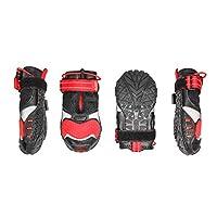 Kurgo Blaze 交叉狗鞋,狗靴,防水狗鞋,四季爪保护,反光狗狗雪地靴,红色/黑色 大