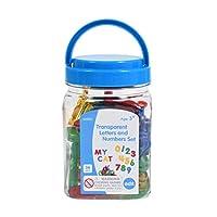 edx Education 透明字母和数字套装 - 迷你罐 - 彩色塑料字母和数字 - 灯盒配件 - 感官游戏