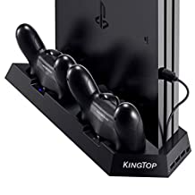 [*立式充电器适用于 PS4 / PS4 Pro / PS4 超薄] KINGTOP PS4 / PS4 超薄双控制器充电站带冷却风扇 适用于索尼 Playstation 4 Dualshock 4 Pro 游戏控制台