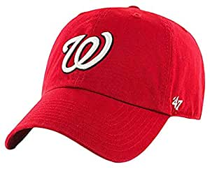 MLB美职棒 华盛顿国民队 (Washington Nationals) 可调节棒球帽 47 男士 Clean Up B-RGW15GWS-HM-OSF 红色/白色 均码