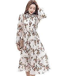 Goralon 荷叶领百褶裙 收腰喇叭袖大花雪纺裙百褶韩范雪纺连衣裙长袖显瘦裙子打底裙