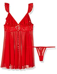 Obsessive Babydoll 套装带蕾丝褶边网,小号