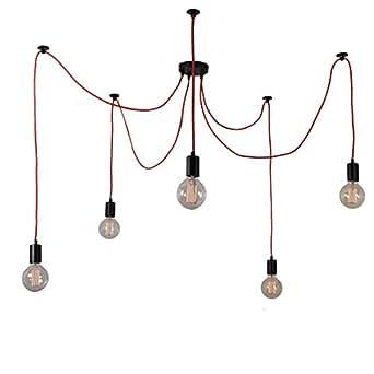 细丝式蜘蛛灯天花灯,适用于 5 个球,金属,红色