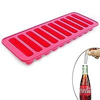 Elbee Home 硅胶冰棒模具托盘可装入 Soda 奶瓶,可轻松释放 10 根冰块棒