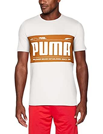 PUMA 男士图形标志方块 T 恤 白色(Puma) Large