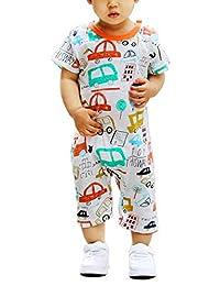 新生儿女宝宝男孩婴儿夏季短袖睡衣可爱卡通连体衣