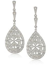 标准纯银方晶锆石梨形吊坠耳环