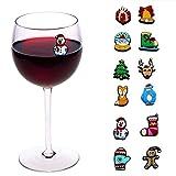 圣诞节假日磁性酒饰品、玻璃和鸡尾酒马克笔 12 件套 - 酒配饰、礼品收藏品、圣诞袜