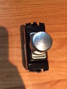 Aspect/Edge 1 Gang 双向拉丝不锈钢 1 调光开关模块带黑色嵌入