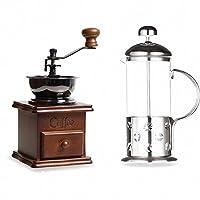 吉泰儿 啡忆 咖啡壶 家用法压壶 耐热玻璃冲茶器手冲过滤杯 法式滤压壶 豆式350ML+古典磨豆机