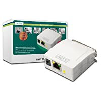 DIGITUS 快速以太网打印服务器,带并行端口,1x RJ45,1x DB-36针公头,打印机服务器,DHCP,TCP/IP,安装简单,包括电源,白色