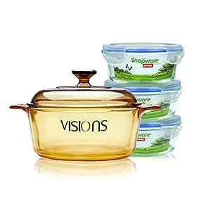 VISIONS 康宁 晶彩透明锅2.25L+圆形保鲜盒三件套