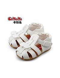 卡特兔夏季新款儿童皮凉鞋女宝宝防滑学步鞋子婴儿软底儿童凉鞋