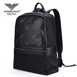 卓梵 阿玛尼 男包 双肩包 男士 背包 潮 帆布 尼龙布 真皮 牛皮 青年 书包 电脑包 旅行包 (黑)