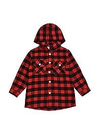 幼童男童红色格子连帽衬衫长袖 T 恤系扣衬衫上衣口袋上衣