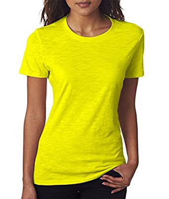 Clementine Womens The Slub Crew-Neon Yellow-2XL