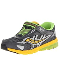 Saucony中性-儿童 Boys Baby Ride 6 - K 搭扣 皮革 Grey/Yellow/Slime 5 W US Toddler