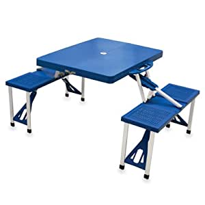 "Picnic Time Portable Folding Picnic Table with Seating for 4 蓝色 36.2"" x 18"" x 5.5"""