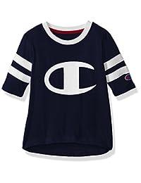 CHAMPION 小女孩 HERITAGE 橄榄球风格长袖 t 恤