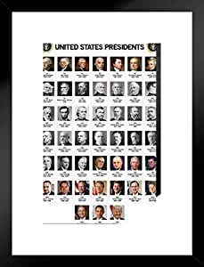 美国总统图表教室海报 30.48 x 45.72 厘米 哑光框架海报 20x26 inches 345256