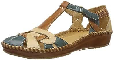 Pikolinos 女士 P. Vallarta 655_v19 闭口凉鞋,珊瑚红色,35 欧码 Blau (Petrol Petrol) 36 EU