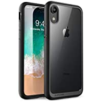 iPhone XR 手機殼,SUPCASE 【獨角獸甲殼系列】優質混合保護透明手機殼適用于 Apple iPhone XR 6.1 英寸 2018 版本SUP-iPhoneXR-6.1-UBStyle-Black  黑色